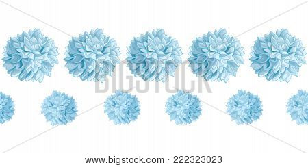 Vector Set of Light Blue Baby Boy Birthday Party Paper Pom Poms Set Horizontal Seamless Repeat Border Pattern. Great for handmade cards, invitations, wallpaper, packaging, nursery designs. Party decor.