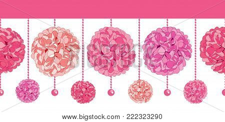 Vector Srt of Dangling Pink Birthday Party Paper Pom Poms and Beads Set Horizontal Seamless Repeat Border Pattern. Great for handmade cards, invitations. Party decor.