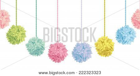 Vector Cute Set of Hanging Pastel Colorful Birthday Party Paper Pom Poms Set Horizontal Seamless Repeat Border Pattern. Great for handmade cards, invitations, wallpaper, packaging, nursery designs. Party decor.