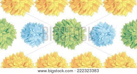 Vector Cute Pastel Yellow, Blue, Green Birthday Party Paper Pom Poms Set Horizontal Seamless Repeat Border Pattern. Great for handmade cards, invitations. Party decor.