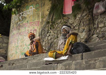 DELHI, INDIA - June 24 2015 : sadhu in Ganga river embankment in Rishikesh, Rishikesh is one of sacred city of hinduism.