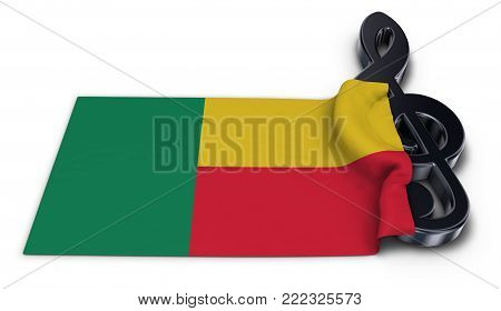 clef symbol and flag of benin - 3d rendering