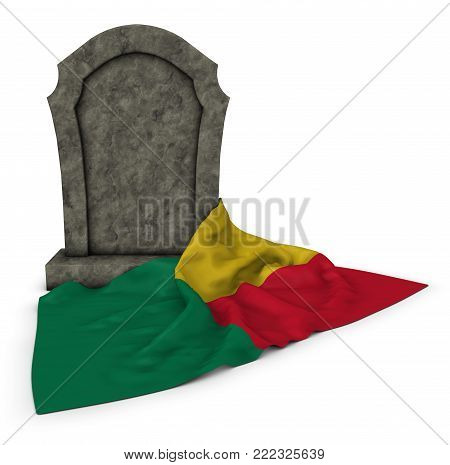 gravestone and flag of benin - 3d rendering
