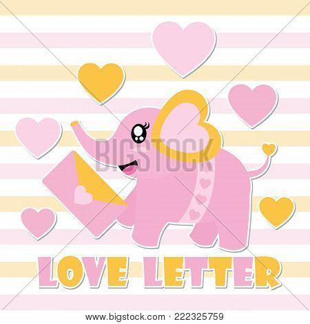 Cute baby elephant and love letter vector cartoon illustration for Happy Valentine card design, postcard, and wallpaper
