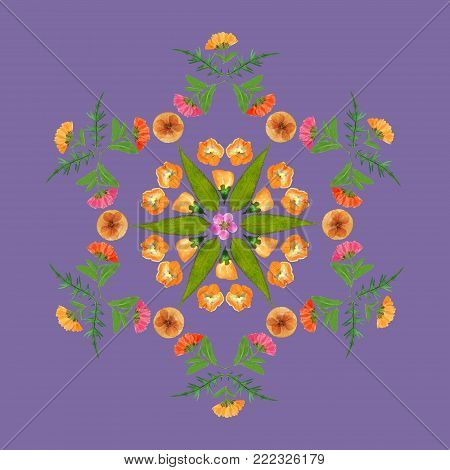 Natural mandala from dried pressed flowers, petals and leaves. Mandala is symbol of meditation, Buddhism, Hinduism, yoga. Geometric mandala drawing made by plants on purple background.