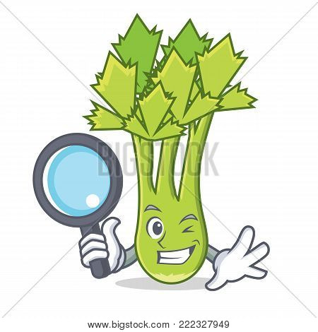 Detective celery character cartoon style vector illustration