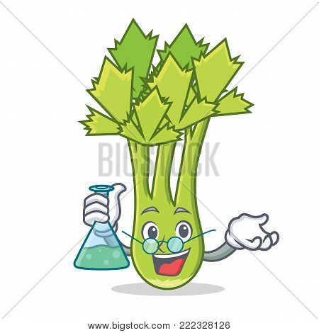 Professor celery character cartoon style vector illustration