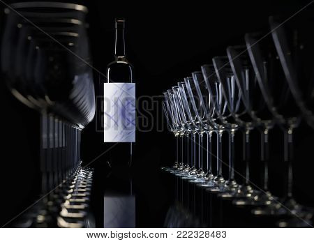 3D rendering. Glasses and bottle. Glasses of different shapes. In the background the tall bottle with white label.  Transparent glass of noble wine.