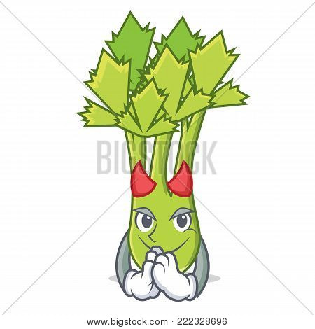 Devil celery mascot cartoon style vector illustration