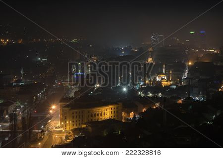 Misty dawning in Sarajevo, view from the Yellow Fortress