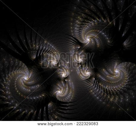 Stylized images of flowers and intersecting spiral lines. The infinity of space and time. Chaotic movement in space. Collision of stars. Interaction of cosmic objects. The invisible world.
