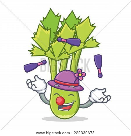 Juggling celery mascot cartoon style vector illustration