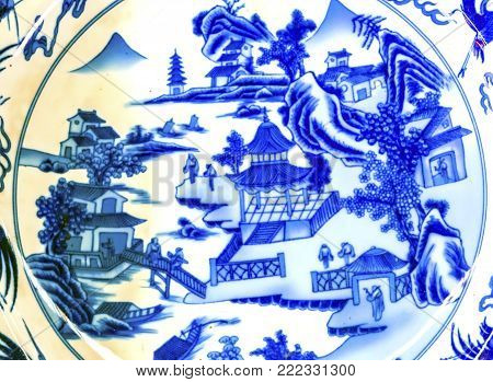 Old Chinese Design Blue White Ceramic Plate  Panjuan Flea Market  Beijing China. Panjuan Flea Curio market has many fakes, replicas and copies of older Chinese products, many ancient.