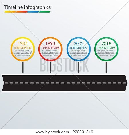 Timeline infographics template. Road arrow with 4 steps, options or levels. Vector illustration.