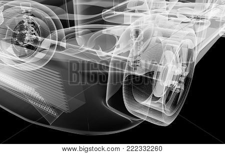 X-ray of the car's front suspension. 3d illustration