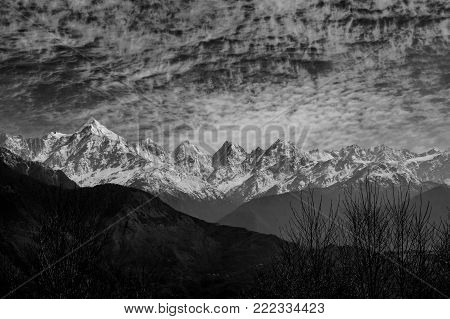 A monochromatic view of the Panchachuli Massif in the Himalayan Range, as seen from a small hill station Munsiyari, Uttarakhand, India