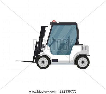 Fright forklift isolated vector icon. Passenger airport ground technics, aviation terminal logistics and infrastructure vector illustration.