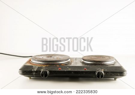 Black Portable electric cooker isolated on white background