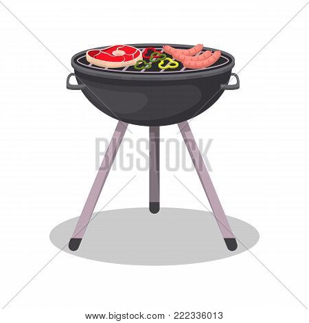 Charcoal barbecue grill with grilled meat steak isolated icon. BBQ party, outdoor cooking equipment, restaurant menu element vector illustration.
