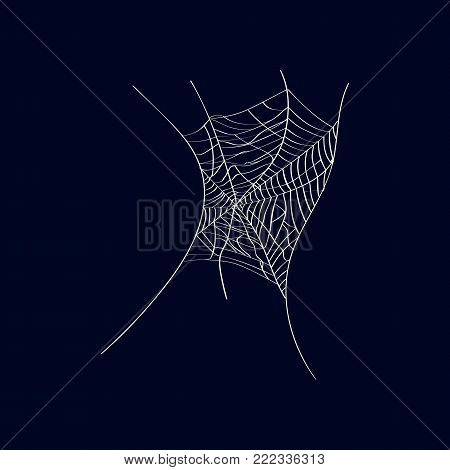 Arachnid creepy cobweb isolated icon on dark background. Abstract design element for halloween holiday banners decoration, web silhouette vector illustration.