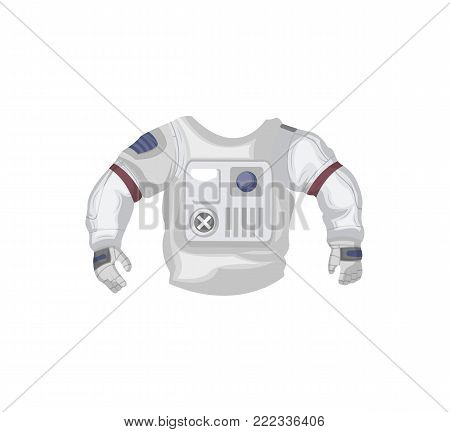 Jacket of space suit isolated icon. Spaceman equipment, cosmic life support system for universe exploration, astronaut on space mission vector illustration.