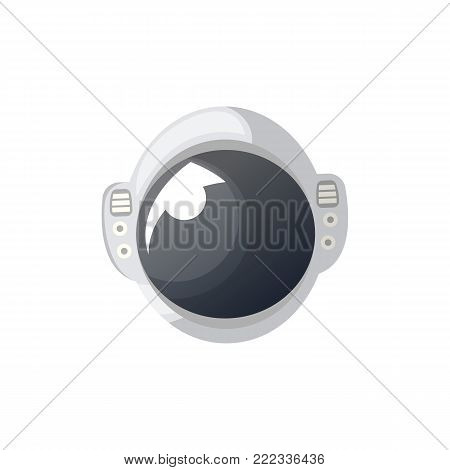 Helmet of space suit isolated icon. Spaceman equipment, cosmic life support system for universe exploration, astronaut on space mission vector illustration.