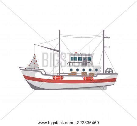 Fishing boat side view isolated icon. Sea or ocean transportation, marine ship for industrial seafood production vector illustration in flat style.