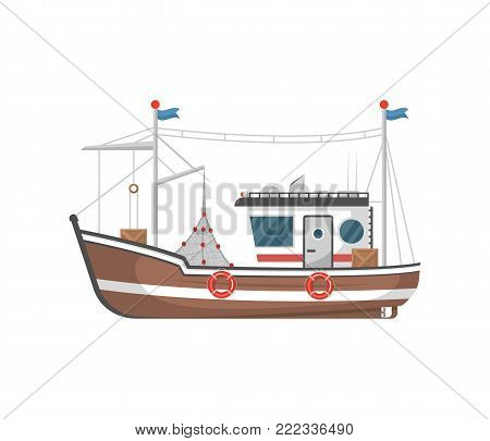 Commercial fishing trawler side view isolated icon. Sea or ocean transportation, marine ship for industrial seafood production vector illustration in flat style.