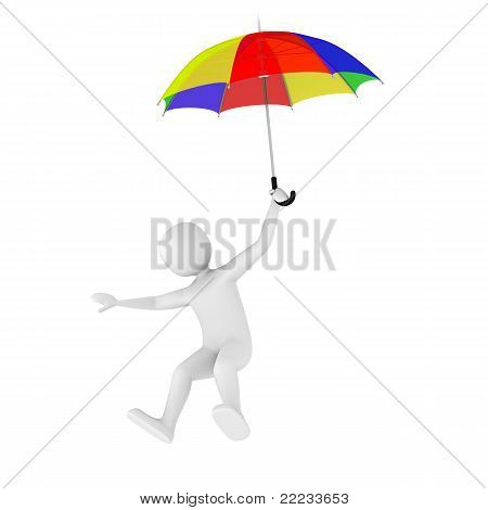 3D Man Flying With Umbrella