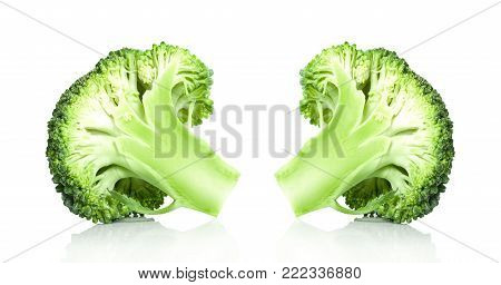 Broccoli fresh isolated on a white background.