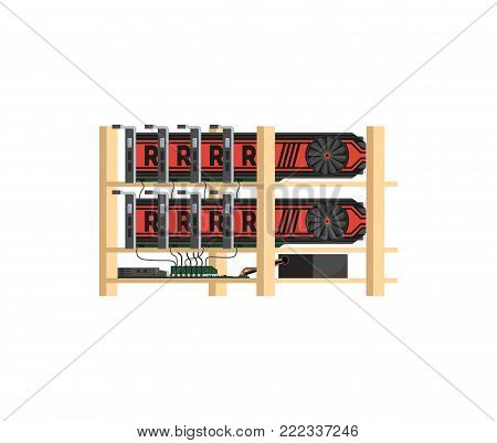 Bitcoin mining farm with GPU videocards icon. Blockchain technology and digital money, cryptocurrency system isometric vector illustration.