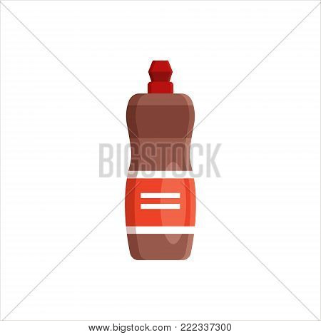 Plastic bottle isolated on white background. Cleaning service logo, laundry detergent and disinfectant products, cleaner for toilet, bath, kitchen - flat vector illustration.