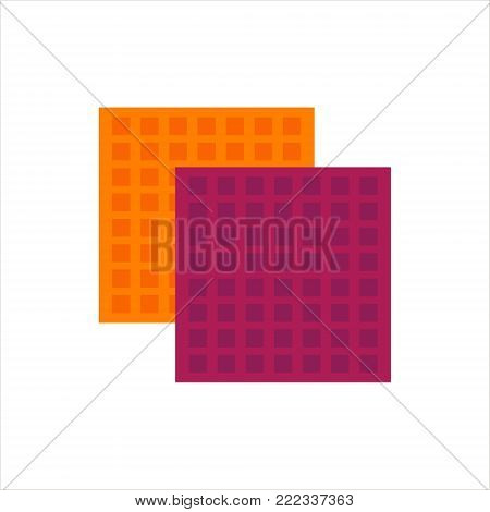 Flat cellulose sponges icon logo rag isolated on white background. Clean object, household equipment tool. Cleaning service vector stock illustration, housekeeping cleanness.