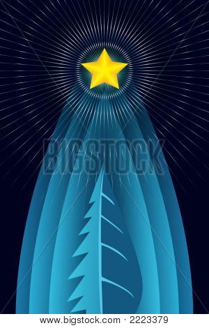Stylized Christmas Tree With A Star And Aureola