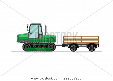 Heavy caterpillar tractor with trailer isolated icon. Agricultural machinery for field work vector illustration. Rural industrial farm technics, comercial transport.