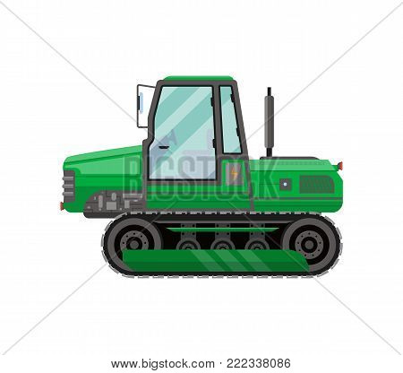 Green caterpillar tractor isolated icon. Agricultural machinery for field work vector illustration. Rural industrial farm technics, comercial transport.