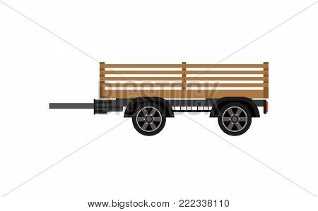 Agricultural wooden trailer isolated icon. Heavy machinery for field work vector illustration. Rural industrial farm technics, comercial transport.