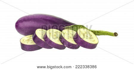 Eggplants, fresh organic eggplant isolated on white background