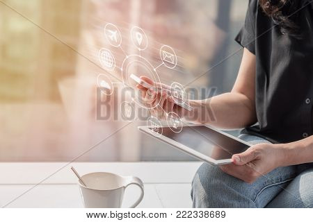 Internet of things - IOT via communication network service on mobile apps and smartphone and tablet technology for people in digital 4.0 lifestyle