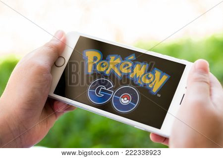 Bangkok, Thailand - February 12, 2018: Iphone Smart Phone Gadget On Hand With Screen Showing Applica