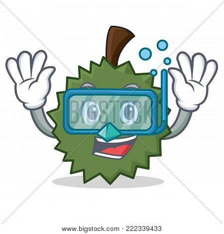 Diving Durian character cartoon style vector illustration