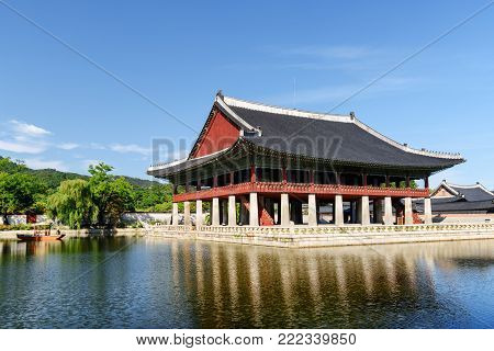 Gyeonghoeru Pavilion At Gyeongbokgung Palace. Seoul, South Korea