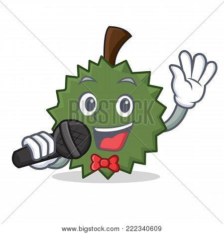 Singing Durian mascot cartoon style vector illustration