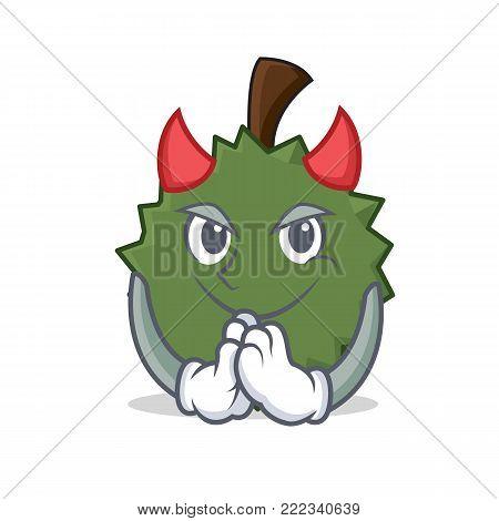 Devil Durian mascot cartoon style vector illustration
