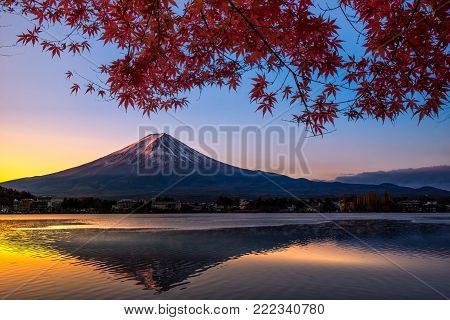 Colorful Autumn Season And Mountain Fuji With Morning Fog And Red Leaves At Lake Kawaguchiko Is One