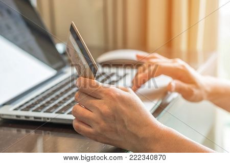 Internet e-payment banking service with consumer buyer using credit card paying purchase for online shopping business via intelligent digital communication