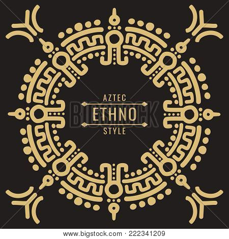 Gold mexican tribal frame design - ethno atzec style ornament. Vector illustration