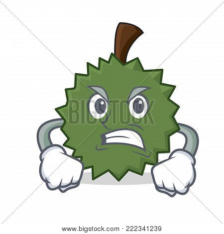 Angry Durian mascot cartoon style vector illustration