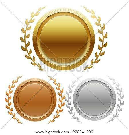 Champion gold, silver and bronze award medals isolated on white background. Vector illustration