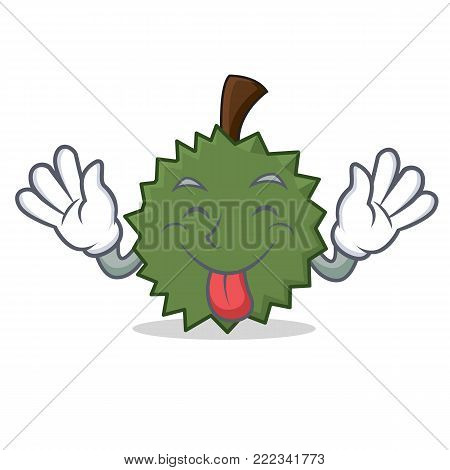 Tongue out Durian mascot cartoon style vector illustration